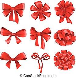 presente, grande, cobrança, arcos, ribbons., vermelho