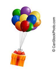 presente, grupo, balões