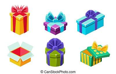 presente, illustrazione, vettore, scatole, colorito, regalo, vario, set