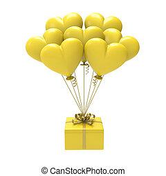 PRESENTE, Ilustração, ar, amarela, corações, balões,  3D