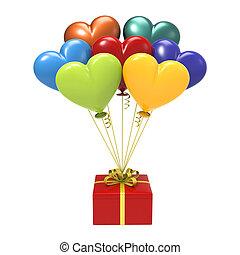 PRESENTE, Ilustração, ar, Variegou, corações, balões, vermelho,  3D