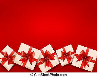 presente, ilustração, caixas, vetorial, bow., fundo, feriado, vermelho