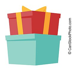 presente, ilustração, caixas, vetorial, caricatura, fita