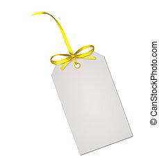 presente, isolado, amarela, arco, nota, fita, fundo, branca, cartão