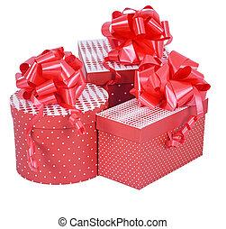 presente, isolado, arco, caixas, fita, branco vermelho