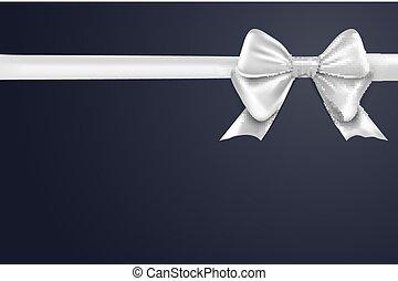 presente, isolado, arco, decoração, experiência., desenho, branca, feriado, fita