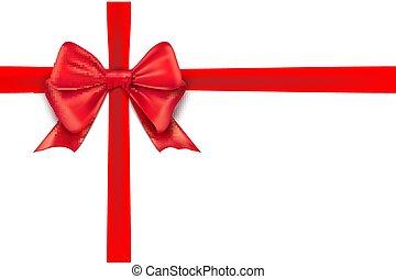 presente, isolado, arco, decoração, experiência., desenho, fita, branca, feriado, vermelho
