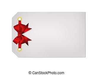 presente, isolado, arco, experiência vermelha, convite, branca, cartão