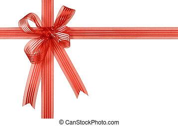 presente, isolado, arco, fita, fundo, branco vermelho