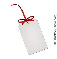 presente, isolado, arco, nota, fita, fundo, branca, cartão, vermelho