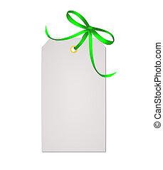 presente, isolado, arco, nota, verde, fita, fundo, branca, cartão