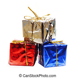 presente, isolado, experiência., caixas, decorado, feriado, fita branca