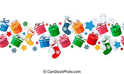 presente, meias, caixas, santa, borda, natal
