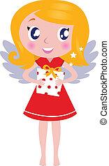 presente, menina, isolado, natal, anjo, branca, caricatura