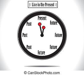 presente, momento, concetto, orologio parete