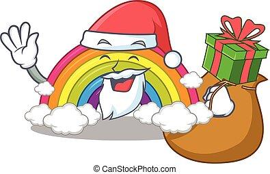 presente, natal, arco íris, desenho, santa, caricatura