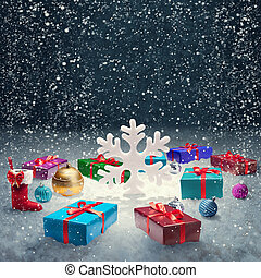 presente natal, caixa, com, natal, bolas, e, grande,...