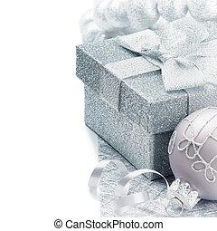 presente natal, caixa, em, prata, tom
