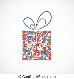 presente natal, caixa, feito, de, círculos, (vector)