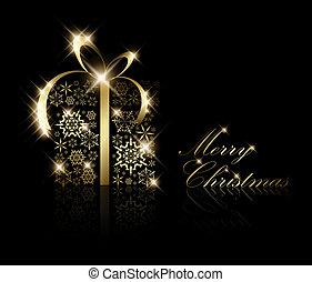 presente natal, caixa, feito, de, dourado, snowflakes