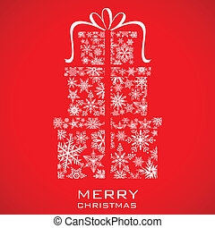 presente natal, caixa, feito, de, snowflakes
