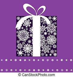 presente natal, caixa, feito, de, snowflakes., eps, 8