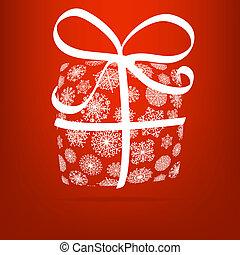 presente natal, caixa, feito, de, snowflakes., +, eps8