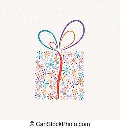 presente natal, caixa, feito, de, snowflakes, (vector)