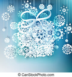 presente natal, caixa, feito, de, snowflakes.