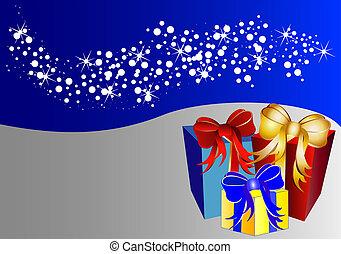 presente navidad, estrellas, plano de fondo, bicolor