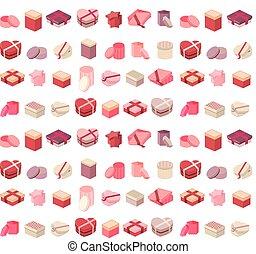 presente, padrão, diferente, seamless, caixas