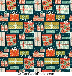 presente, padrão, seamless, boxes., ano, novo, natal, feliz
