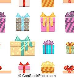 presente, padrão, seamless, caixas, arcos, fita