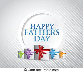 presente, pais, ilustração, desenho, dia, cartão, feliz
