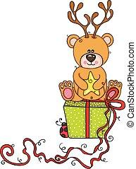 presente, pelúcia, sentando, veado, urso, verde, chifres