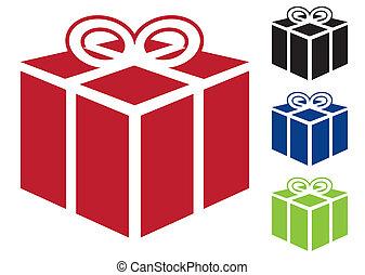 presente, regalo, icona