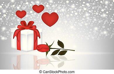 presente, rosa, corações, fundo, obscurecido