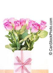 presente, rosas, buquet, cor-de-rosa