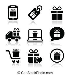 presente, shopping, vettore, icone, set