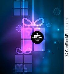 presente, snowflakes, glowing, caixas, modelo, ano, novo, natal
