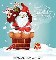 presente, telhado, saco, santa, cartão natal