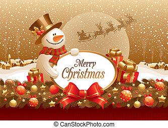 presente, &, texto, quadro, ilustração, boneco neve, vetorial, natal