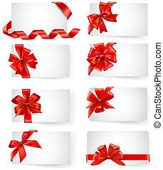 presente, vetorial, arcos, cartões, jogo, grande, vermelho, fitas