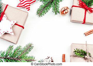 presente, vista, festivo, board., fundo, madeira, configuração, christmas branco, decorações, topo, caixas, apartamento, feriados