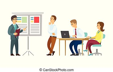 Boss giving presentation on whiteboard vector, business plan conference. Presenter with information, seminar and sitting listeners with laptops, meeting