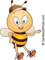 Presenter Bee - Illustration of a Bee Presenting Something