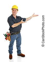 presenterar, anläggningsarbetare