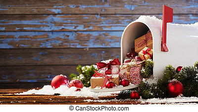 presenterar, brevlåda, jul, översvämmande
