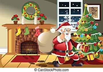presenterar, claus, bärande, jul, jultomten