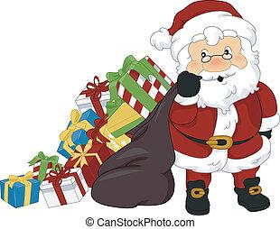 presenterar, claus, jul, jultomten